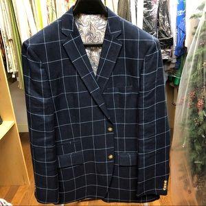 Alan Flusser Blue Window Pane Jacket, sz 44L
